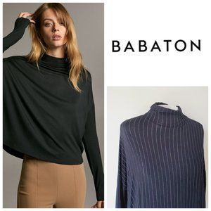 ARITZIA BABATON Rayon Striped Mock Neck Top